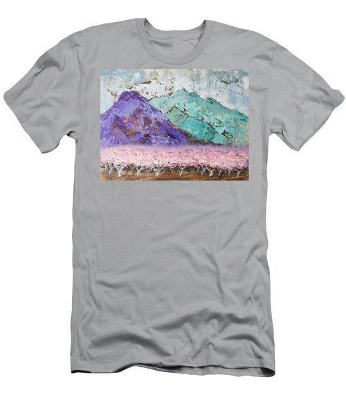 Canigou With Blooming Peach Trees Men's T-Shirt (Athletic Fit)
