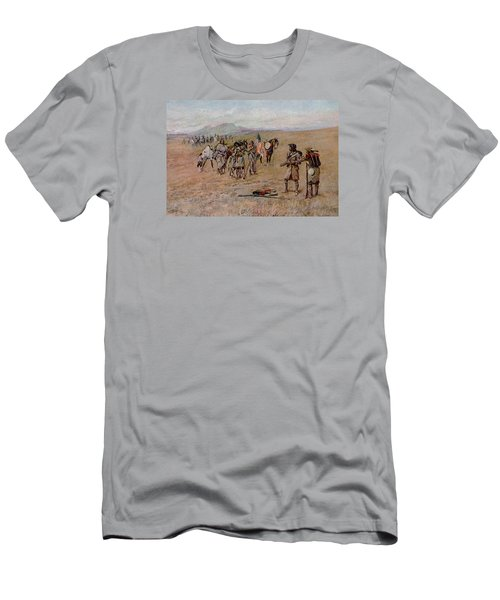 Captain Meriwether Lewis With Drewyer And Shield Meeting The Indians Men's T-Shirt (Athletic Fit)