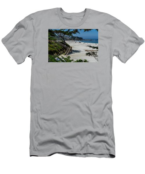 Carmel Beach Stairs Men's T-Shirt (Slim Fit) by Derek Dean
