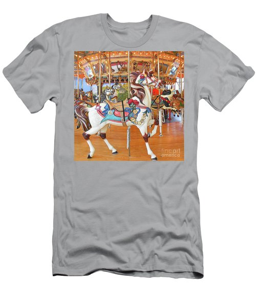 Carousel Horse On Wood Floor Men's T-Shirt (Athletic Fit)