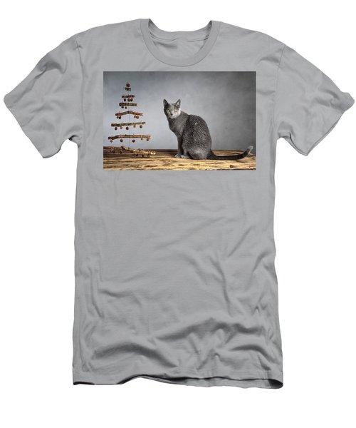 Cat Christmas Men's T-Shirt (Athletic Fit)