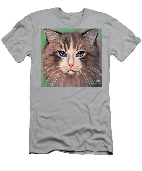 Men's T-Shirt (Slim Fit) featuring the digital art Cat With Blue Eyes by Maja Sokolowska