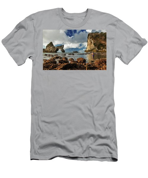 Men's T-Shirt (Athletic Fit) featuring the photograph catching fish in Atuh beach by Pradeep Raja Prints