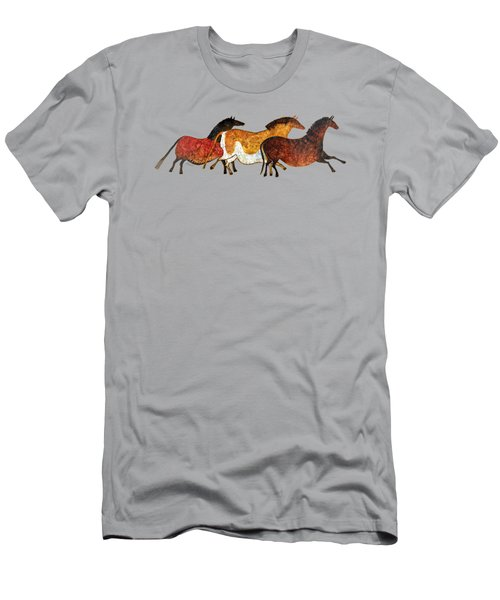 Cave Horses In Beige Men's T-Shirt (Athletic Fit)