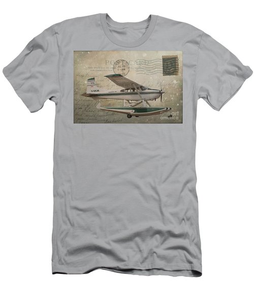 Cessna Skywagon 185 On Vintage Postcard Men's T-Shirt (Athletic Fit)