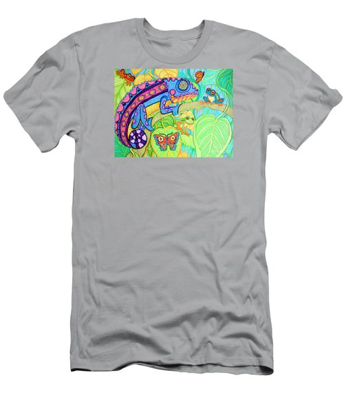 Chamelion And Rainforest Frogs Men's T-Shirt (Slim Fit) by Nick Gustafson
