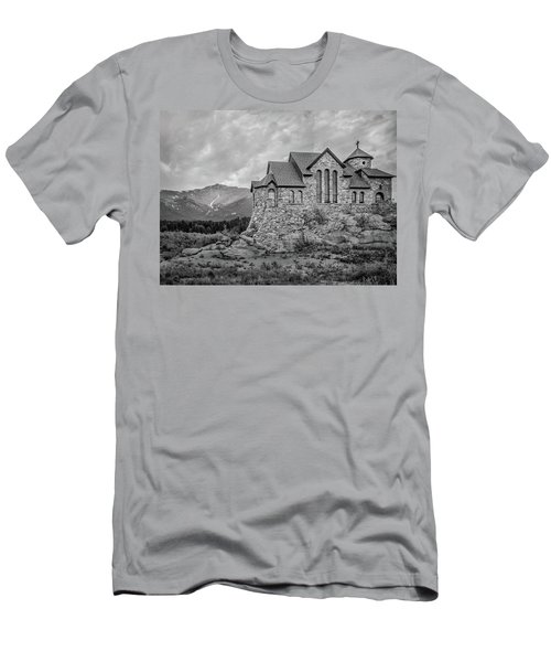 Chapel On The Rock - Black And White Men's T-Shirt (Athletic Fit)