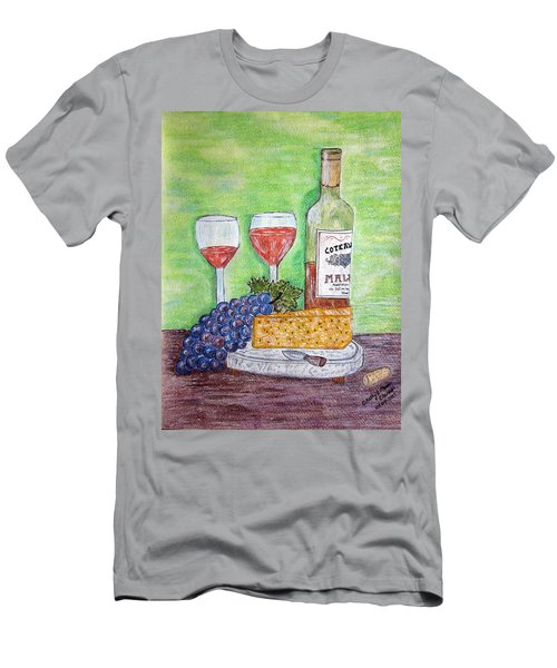 Men's T-Shirt (Slim Fit) featuring the painting Cheese Wine And Grapes by Kathy Marrs Chandler