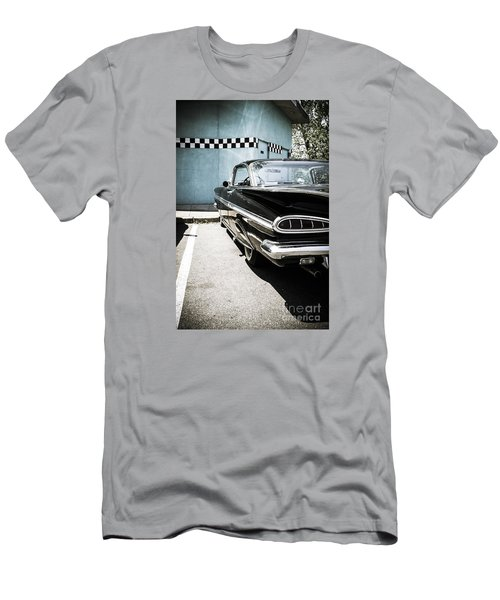 Chevrolet Impala In Front Of American Diner Men's T-Shirt (Slim Fit) by Perry Van Munster