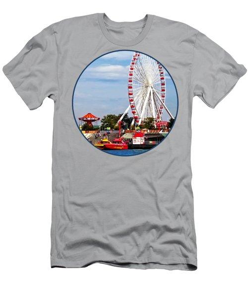 Chicago Il - Ferris Wheel At Navy Pier Men's T-Shirt (Athletic Fit)