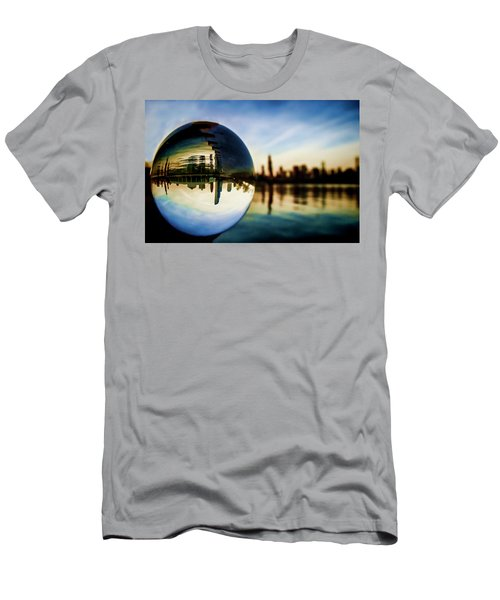 Chicago Skyline Though A Glass Ball Men's T-Shirt (Athletic Fit)