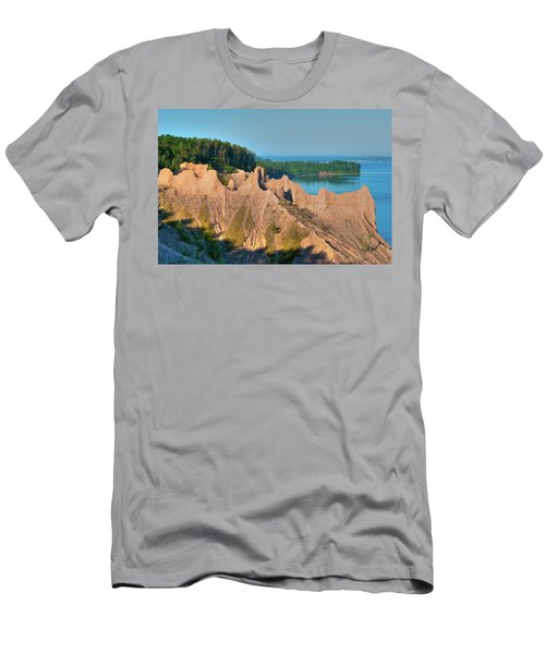 Chimney Bluffs 1750 Men's T-Shirt (Slim Fit) by Guy Whiteley