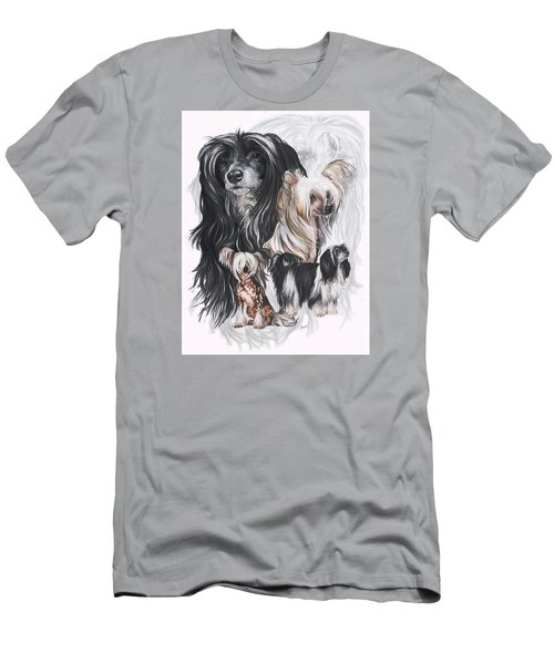 Chinese Crested And Powderpuff W/ghost Men's T-Shirt (Slim Fit) by Barbara Keith