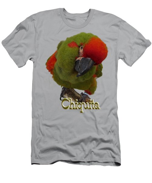 Chiquita, A Red-front Macaw Men's T-Shirt (Slim Fit) by Zazu's House Parrot Sanctuary