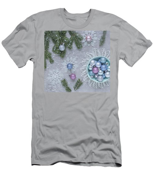 Men's T-Shirt (Athletic Fit) featuring the photograph Christmas Baubles And Snowflakes by Kim Hojnacki