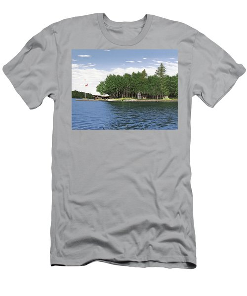 Men's T-Shirt (Slim Fit) featuring the painting Christmas Island Muskoka by Kenneth M Kirsch