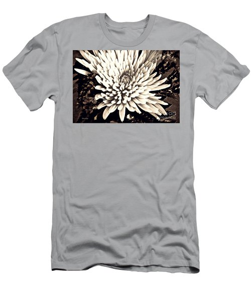 Men's T-Shirt (Slim Fit) featuring the photograph Chrysanthemum In Sepia 2  by Sarah Loft