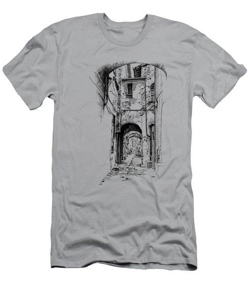 Citta Di Castello Dip Pen Sketch Men's T-Shirt (Athletic Fit)