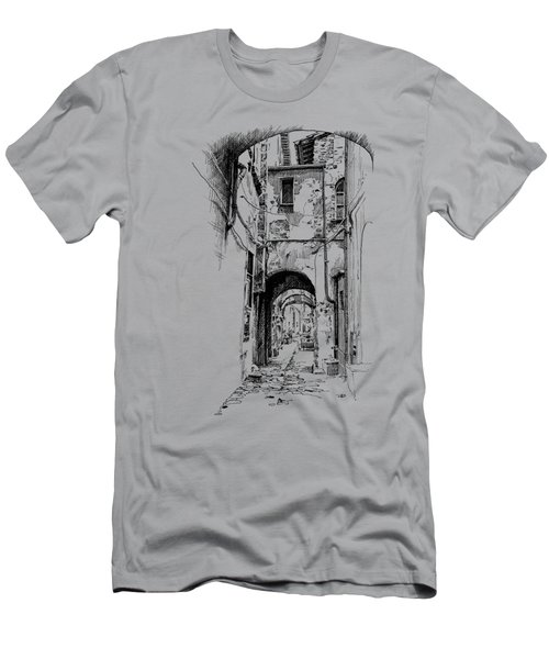 Citta Di Castello Dip Pen Sketch Men's T-Shirt (Athletic Fit)