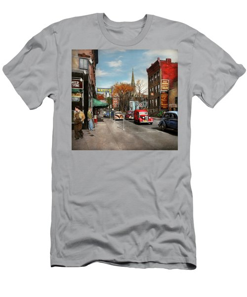 Men's T-Shirt (Slim Fit) featuring the photograph City - Amsterdam Ny - Downtown Amsterdam 1941 by Mike Savad