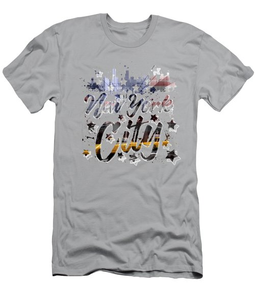 City-art Nyc Composing - Typography Men's T-Shirt (Slim Fit) by Melanie Viola
