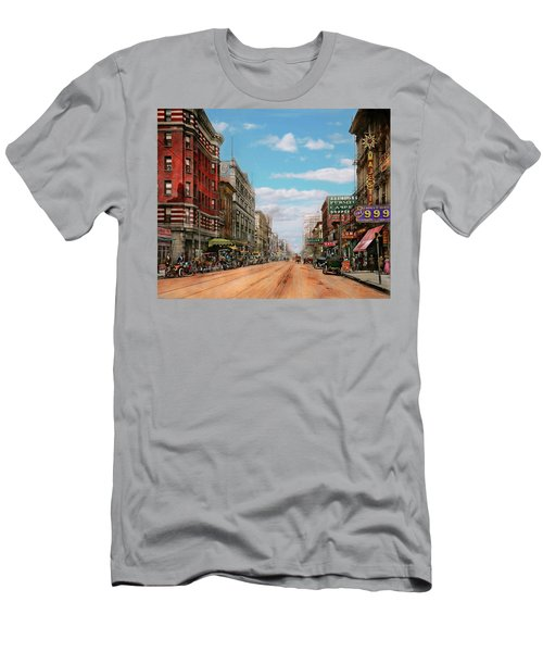 Men's T-Shirt (Slim Fit) featuring the photograph City - Memphis Tn - Main Street Mall 1909 by Mike Savad