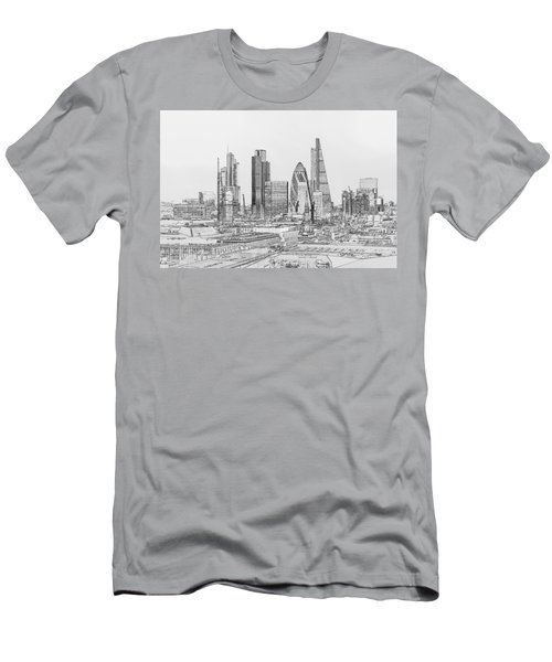 City Of London Outline Poster Bw Men's T-Shirt (Athletic Fit)