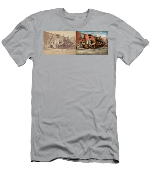 Men's T-Shirt (Slim Fit) featuring the photograph City - Pa - Fish And Provisions 1898 - Side By Side by Mike Savad