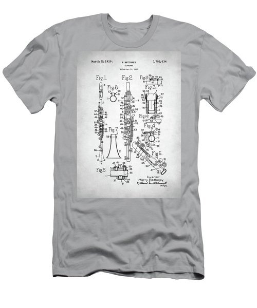 Men's T-Shirt (Slim Fit) featuring the digital art Clarinet Patent by Taylan Apukovska