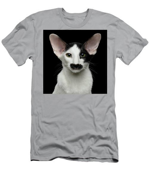 Closeup Funny Oriental Shorthair Looking At Camera Isolated, Bla Men's T-Shirt (Athletic Fit)