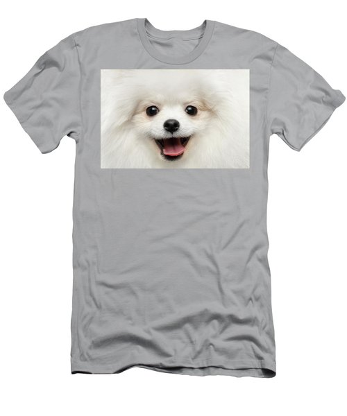 Men's T-Shirt (Athletic Fit) featuring the photograph Closeup Furry Happiness White Pomeranian Spitz Dog Curious Smiling by Sergey Taran