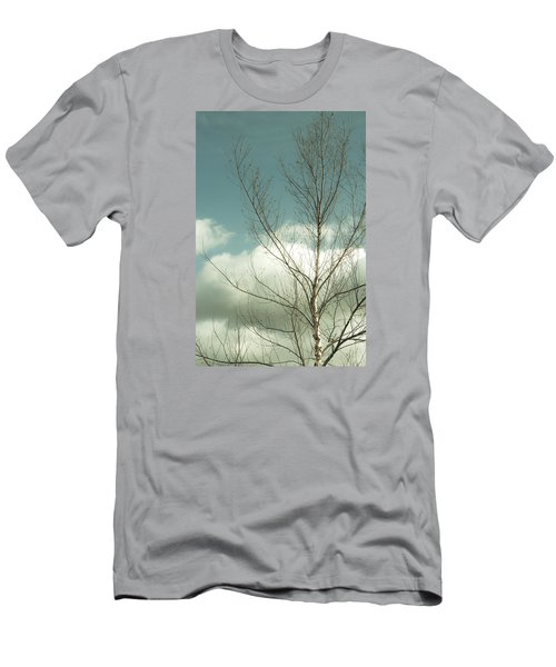 Men's T-Shirt (Slim Fit) featuring the photograph Cloudy Blue Sky Through Tree Top No 2 by Ben and Raisa Gertsberg