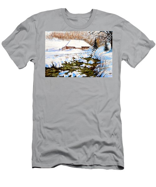 Men's T-Shirt (Athletic Fit) featuring the painting Clubhouse In Winter by Sher Nasser