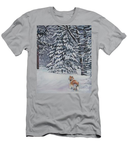 Collie Sable Christmas Tree Men's T-Shirt (Slim Fit) by Lee Ann Shepard