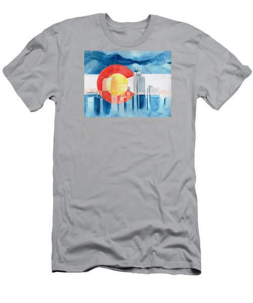 Men's T-Shirt (Slim Fit) featuring the painting Colorado Flag by Andrew Gillette