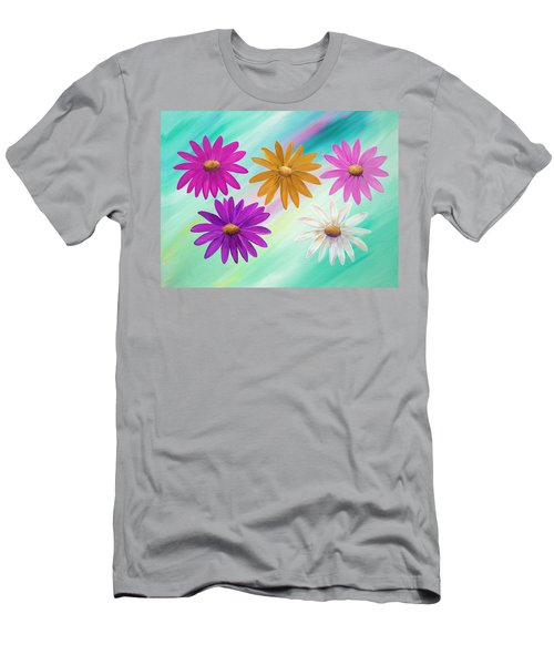 Men's T-Shirt (Athletic Fit) featuring the mixed media Colorful Daisies by Elizabeth Lock