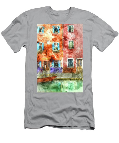Colorful Houses In Burano Island, Venice Men's T-Shirt (Athletic Fit)