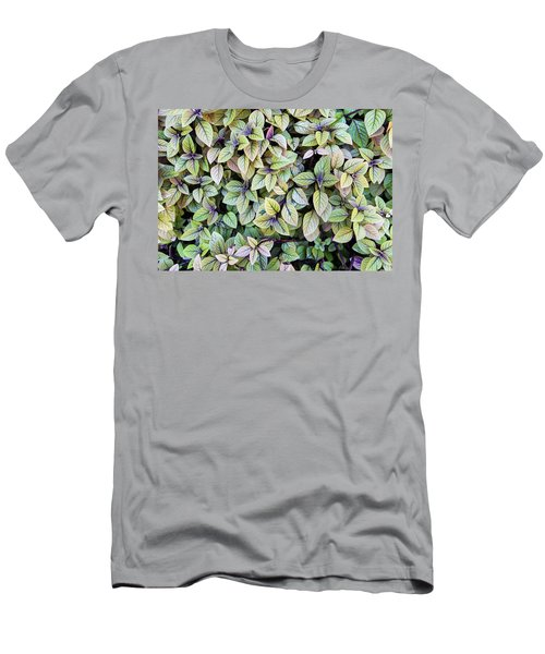 Men's T-Shirt (Athletic Fit) featuring the photograph Colorful Leaves Bush,the Color And Textured Of Nature In Natural by Jingjits Photography