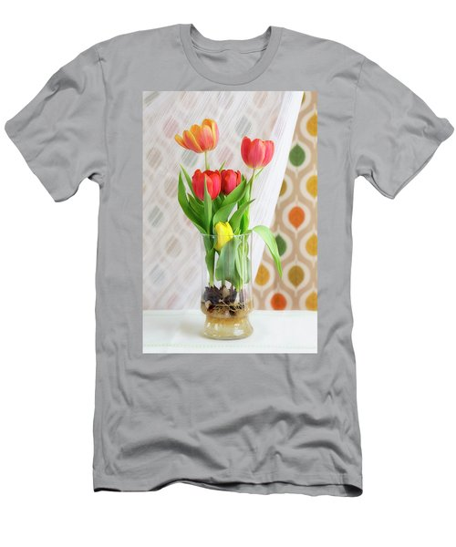 Colorful Tulips And Bulbs In Glass Vase Men's T-Shirt (Athletic Fit)
