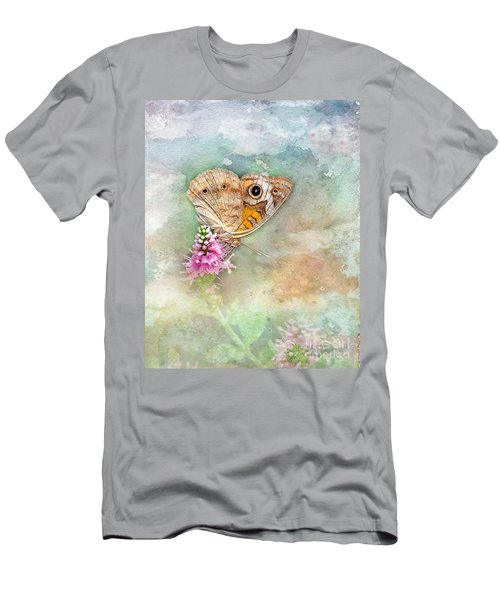 Men's T-Shirt (Slim Fit) featuring the photograph Common Buckeye by Betty LaRue