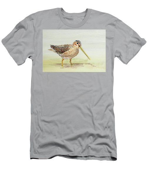 Men's T-Shirt (Slim Fit) featuring the painting Common Snipe Wading by Thom Glace