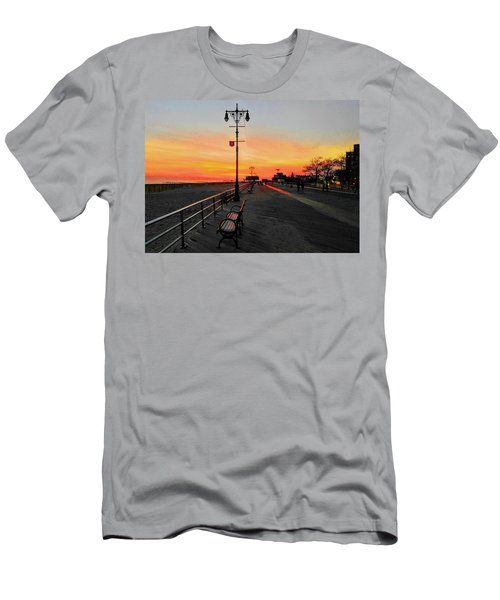 Coney Island Boardwalk Sunset Men's T-Shirt (Athletic Fit)