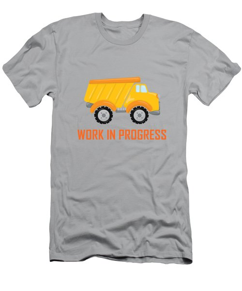 Construction Zone - Dump Truck Work In Progress Gifts - Grey Background Men's T-Shirt (Athletic Fit)