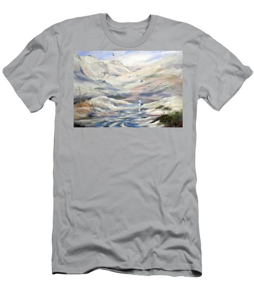 Men's T-Shirt (Athletic Fit) featuring the painting Coorong, South Australia. by Ryn Shell
