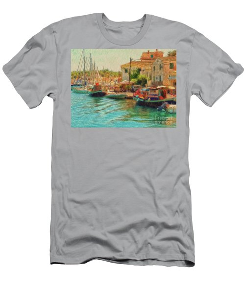 Men's T-Shirt (Athletic Fit) featuring the photograph Corfu 39 - Boats Paxos by Leigh Kemp