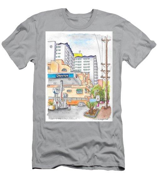 Corner La Cienega Blvd. And Hallway, Chevron Gas Station, West Hollywood, Ca Men's T-Shirt (Slim Fit) by Carlos G Groppa