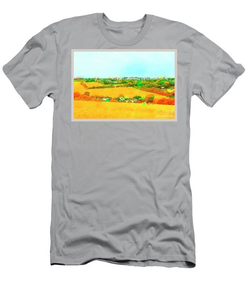 Men's T-Shirt (Athletic Fit) featuring the digital art countryside  in Cornwall, UK by Ariadna De Raadt