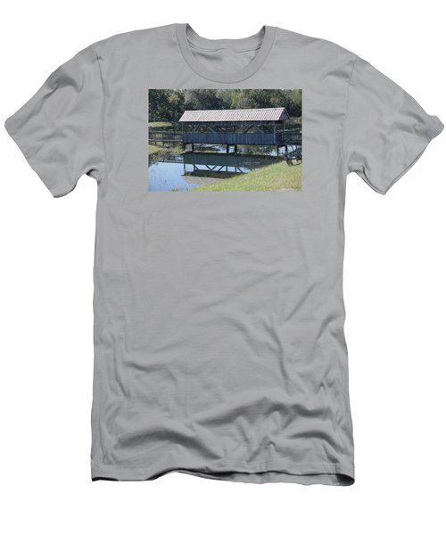 Men's T-Shirt (Slim Fit) featuring the photograph Covered Bridge Painting by Debra     Vatalaro