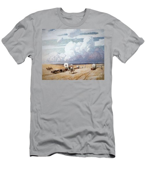 Covered Wagons Heading West Men's T-Shirt (Athletic Fit)