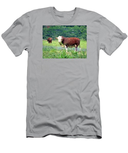 Men's T-Shirt (Slim Fit) featuring the painting Cow Today by Angela Annas